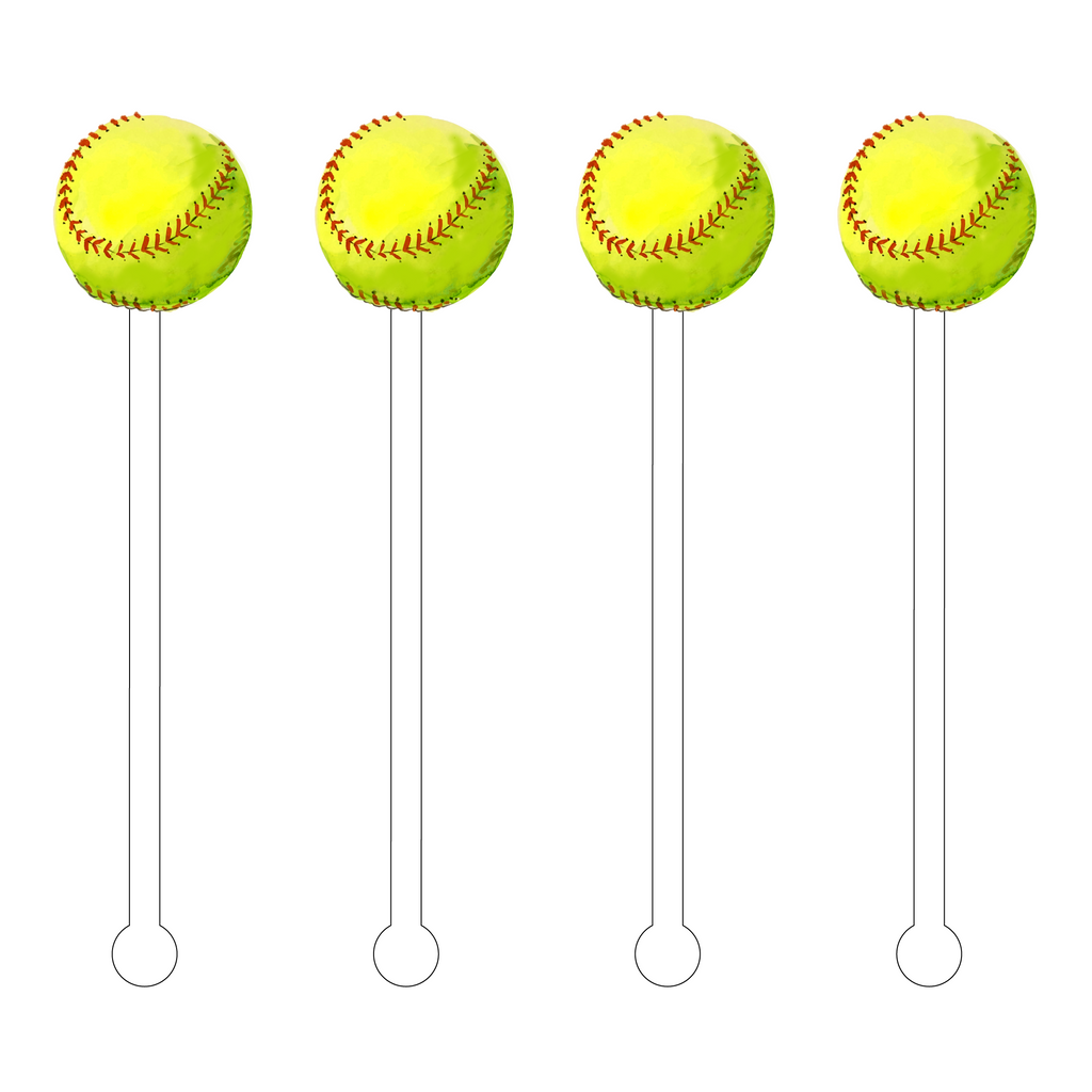 SOFTBALL ACRYLIC STIR STICKS