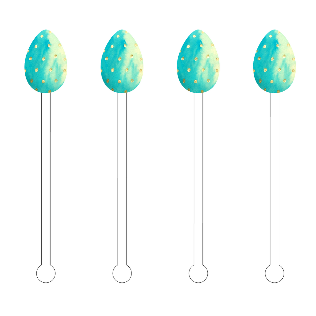 AQUA OMBRE GOLD SPECKLED EGG ACRYLIC STIR STICKS