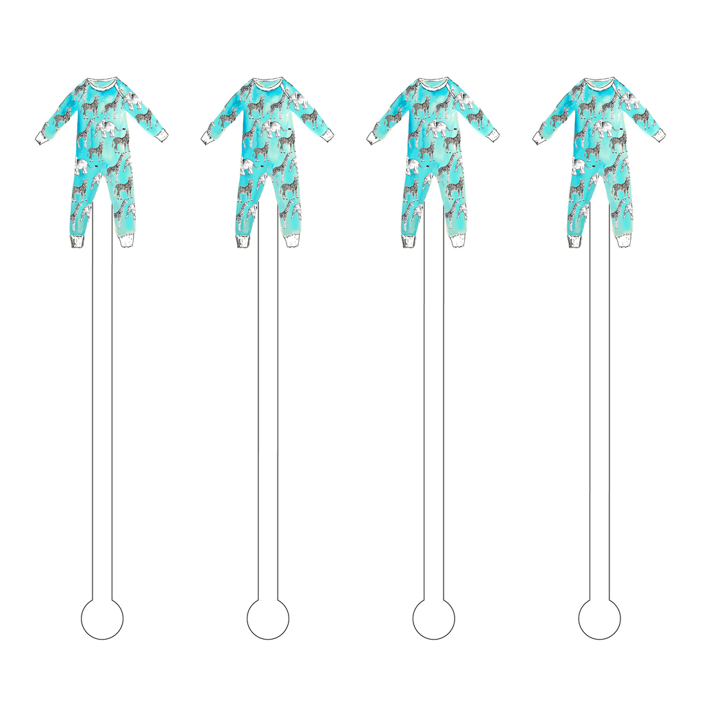 ANIMAL ONESIE ACRYLIC STIR STICKS