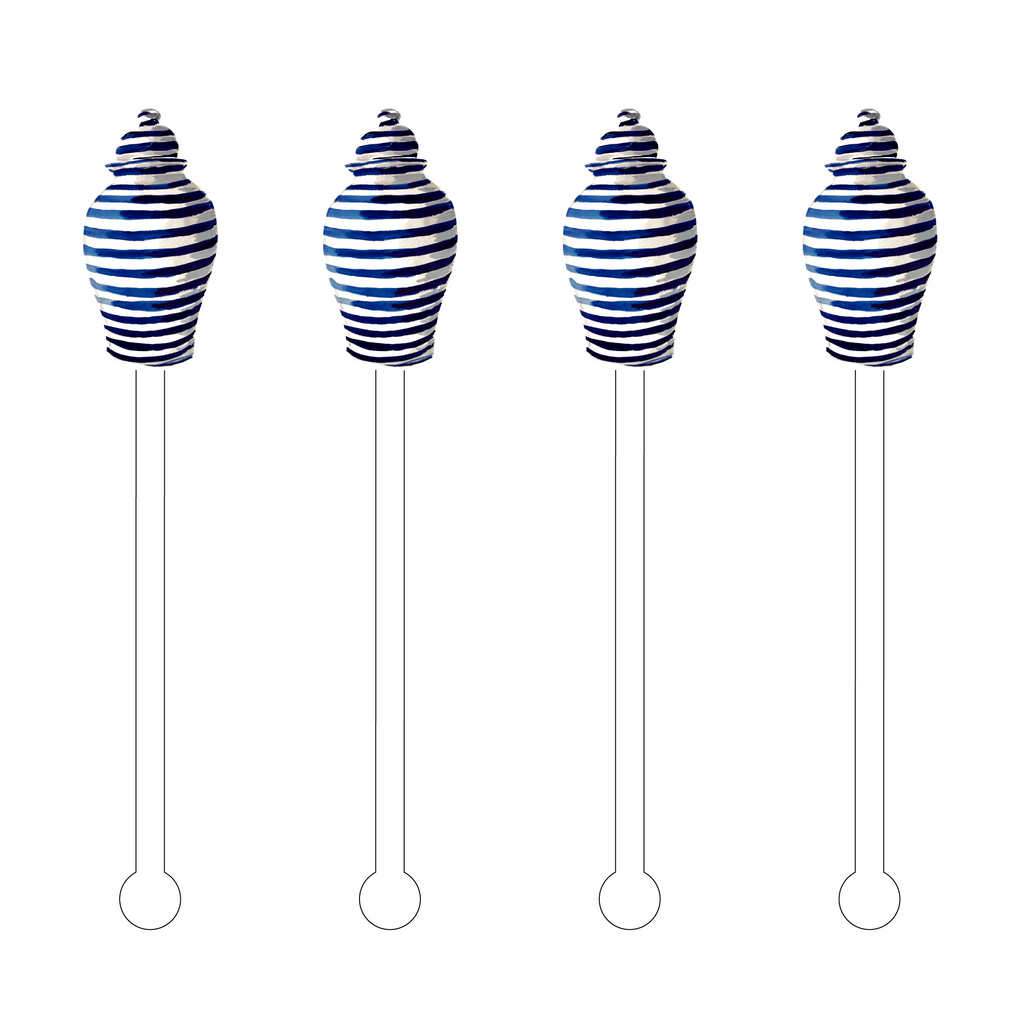 BLUE STRIPES GINGER JAR ACRYLIC STIR STICKS