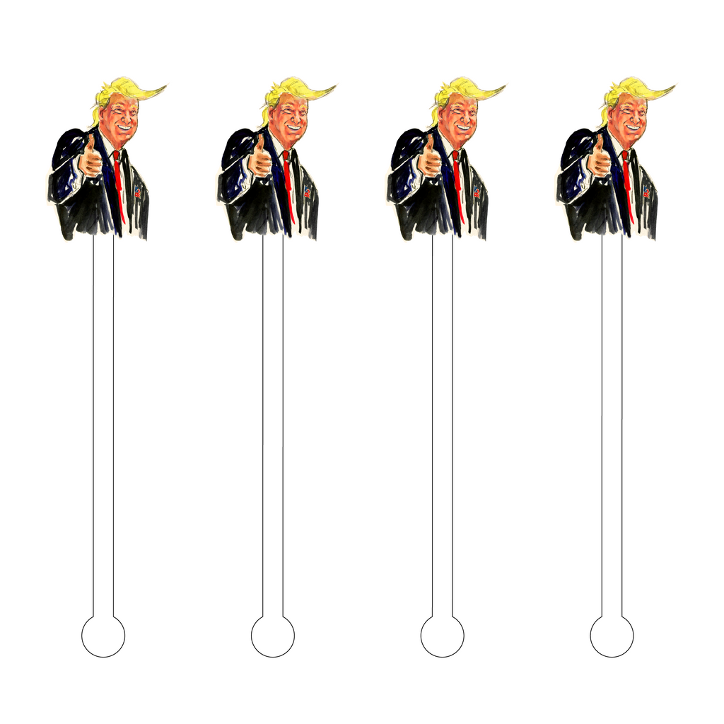 TRUMP CARICATURE ACRYLIC STIR STICKS