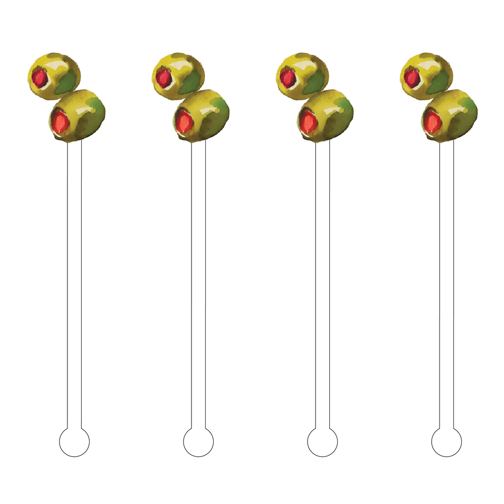 GREEN OLIVES ACRYLIC STIR STICKS