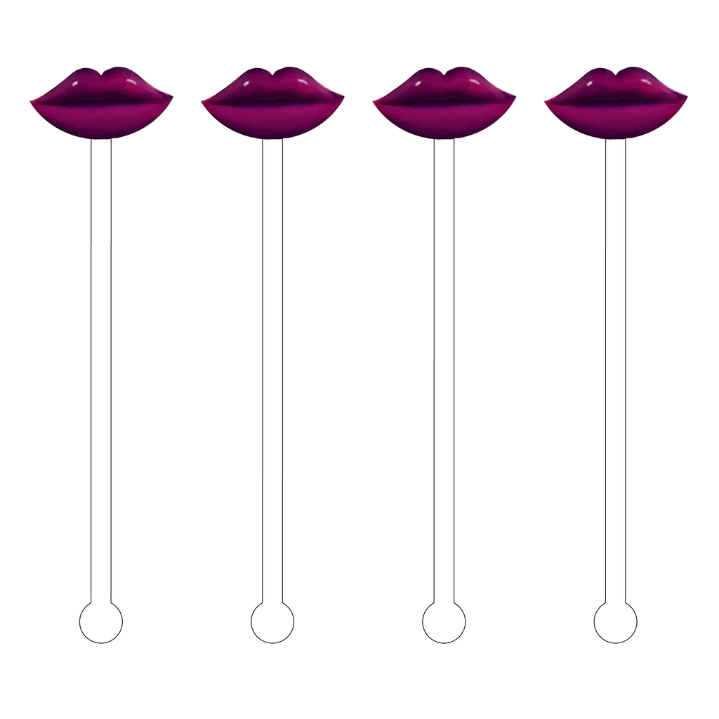 BURGANDY LIPS ACRYLIC STIR STICKS