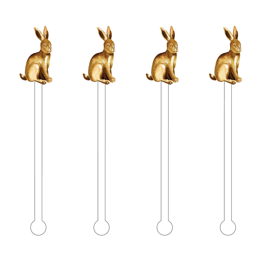 GOLD EASTER BUNNY ACRYLIC STIR STICKS