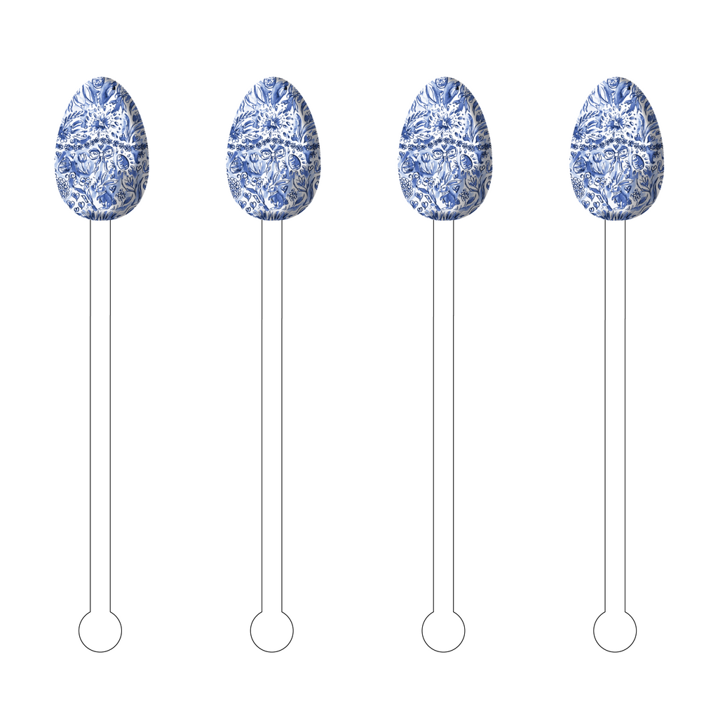 BLUE + WHITE EASTER EGG ACRYLIC STIR STICKS