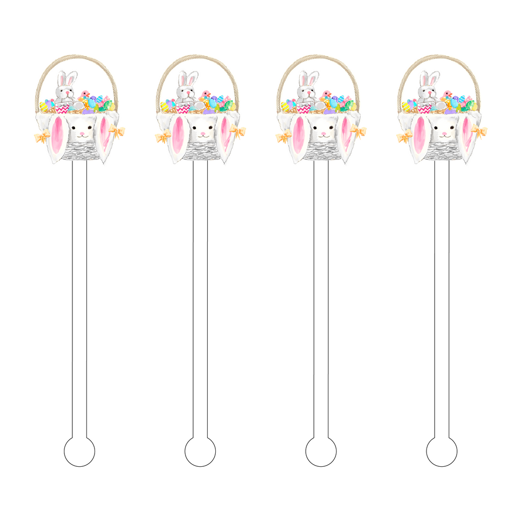 BUNNIES EASTER BASKET ACRYLIC STIR STICKS