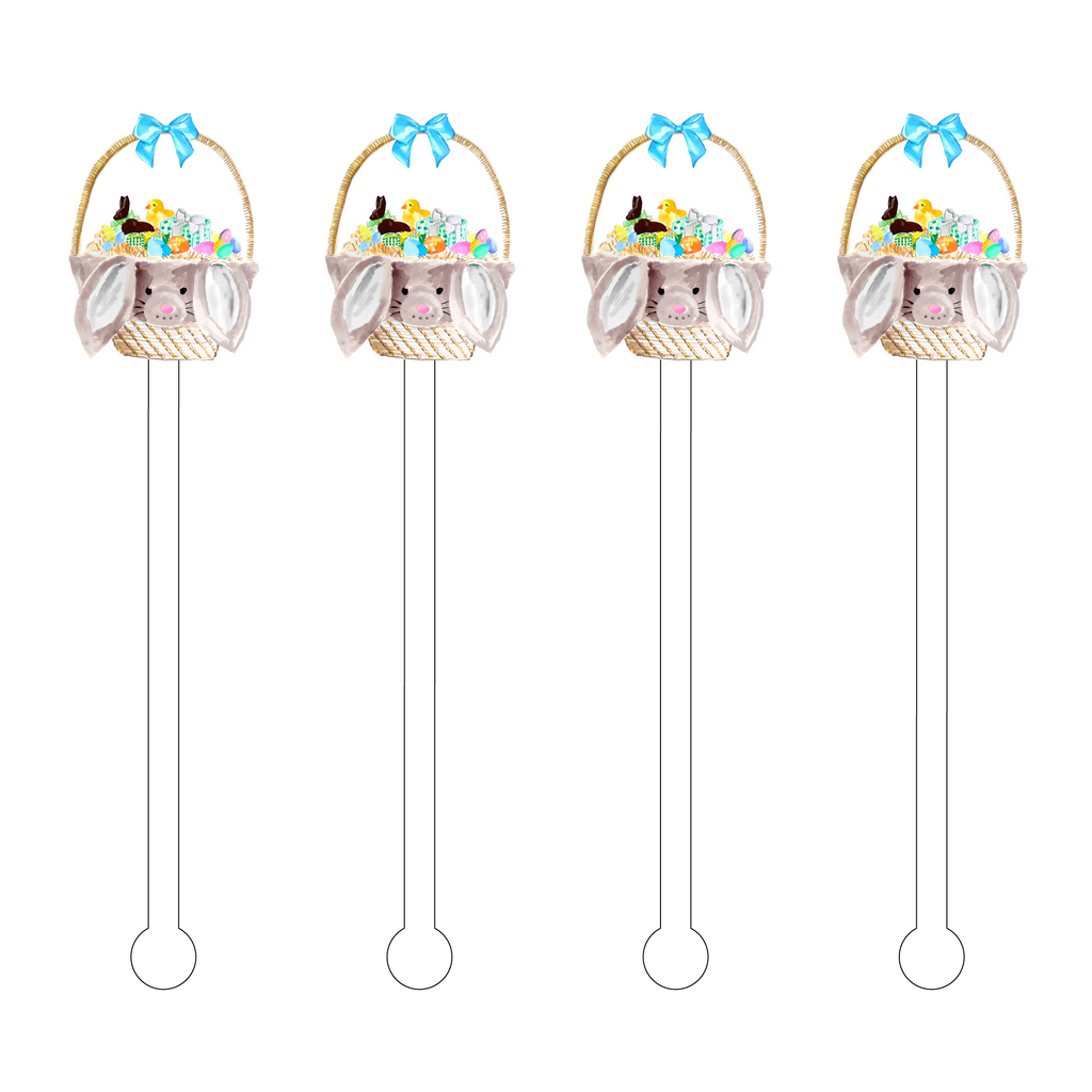 BUNNY LOVE EASTER BASKET ACRYLIC STIR STICKS