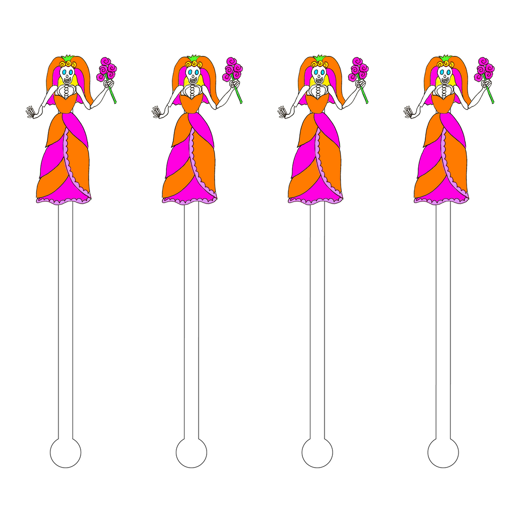 DAY OF THE DEAD VIBRANT BRIDE ACRYLIC STIR STICKS