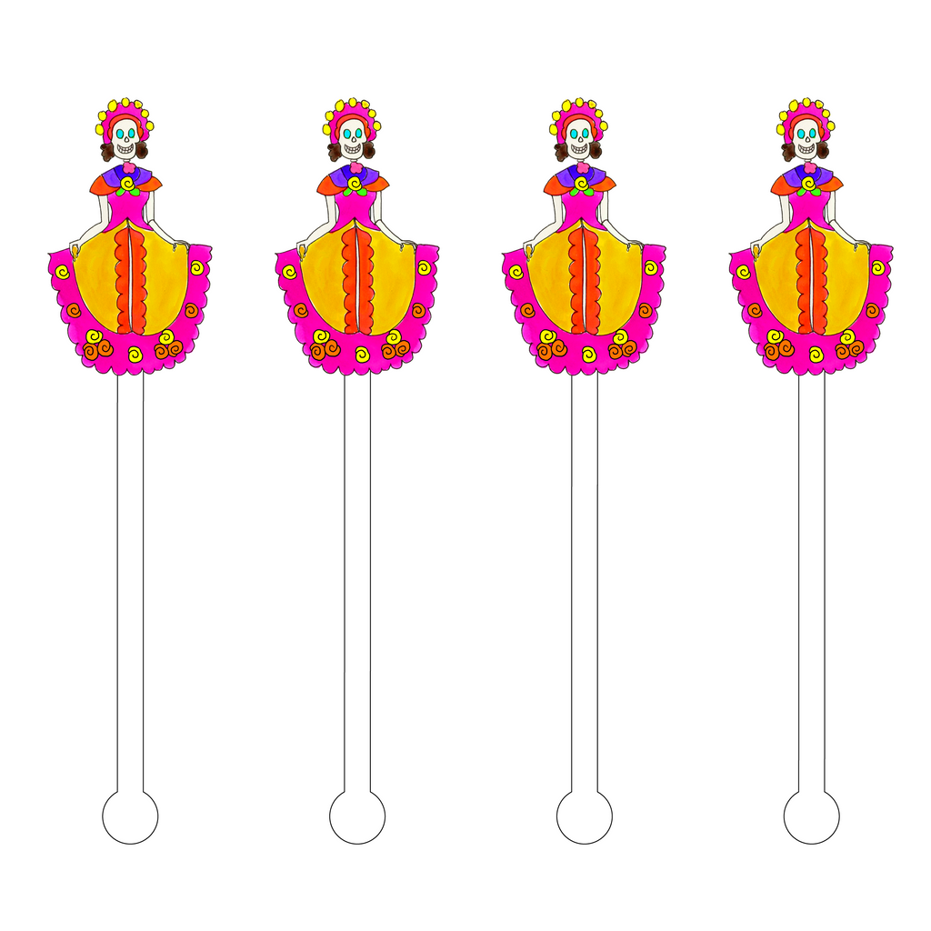 DAY OF THE DEAD SENORITA ACRYLIC STIR STICKS