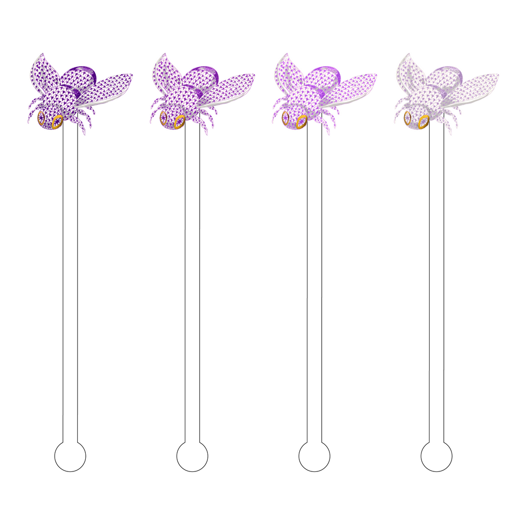 AMETHYST OMBRE HEREND BEE ACRYLIC STIR STICKS COMBO