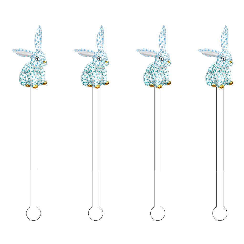 TWO-TONED BLUE FLOPPY EAR HEREND BUNNY ACRYLIC STIR STICKS
