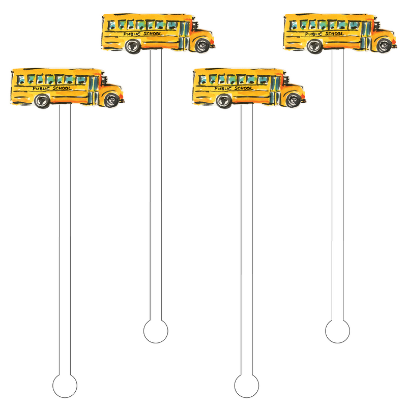SCHOOL BUS ACRYLIC STIR STICKS