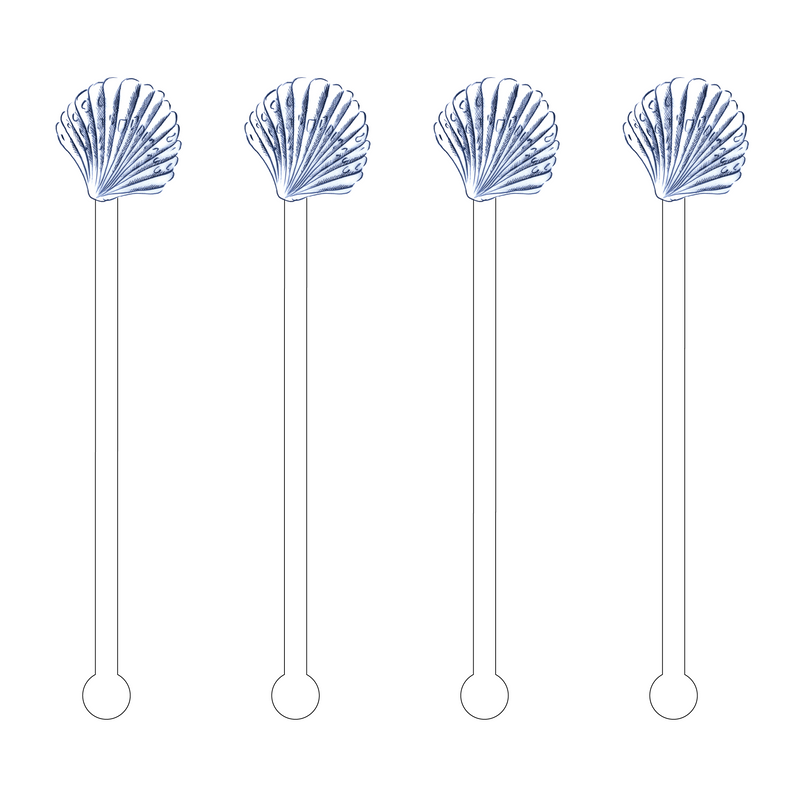 BLUE COCKLE SHELL ACRYLIC STIR STICKS