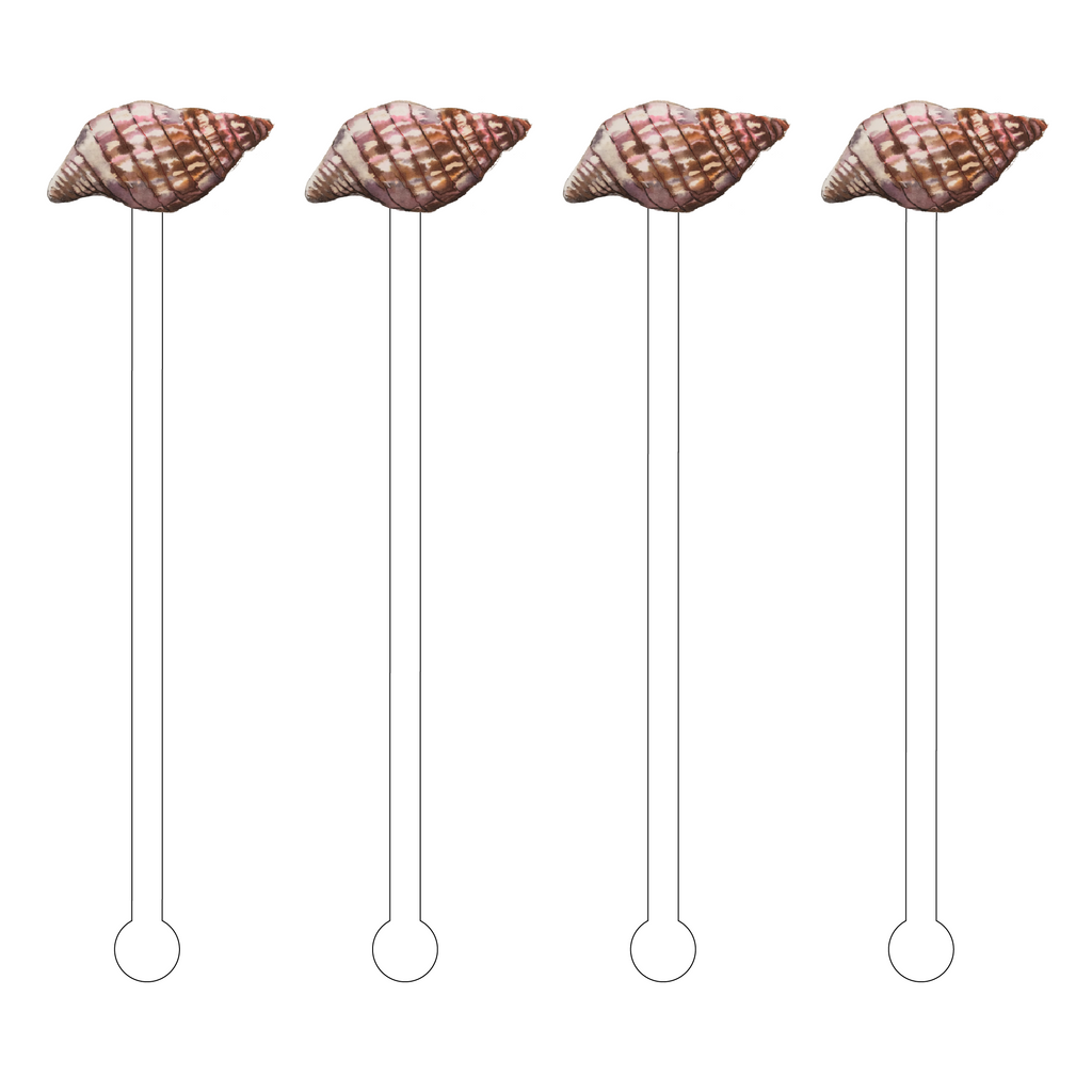 BROWN BANDED TULIP SHELL ACRYLIC STIR STICKS