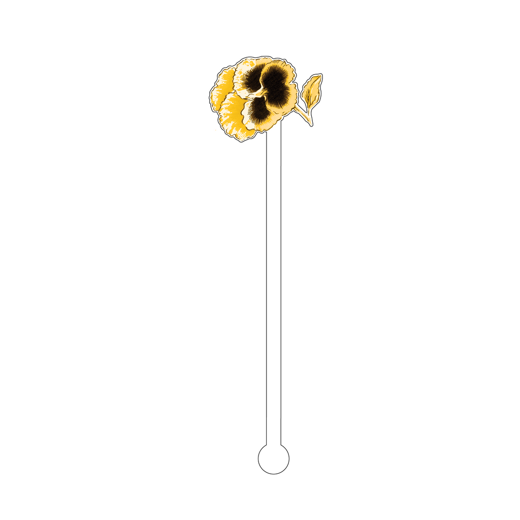 GOLD & BLACK PANSY ACRYLIC STIR STICK