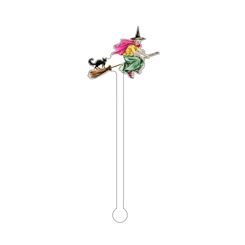 FABULOUS FLYING WITCH ACRYLIC STIR STICK