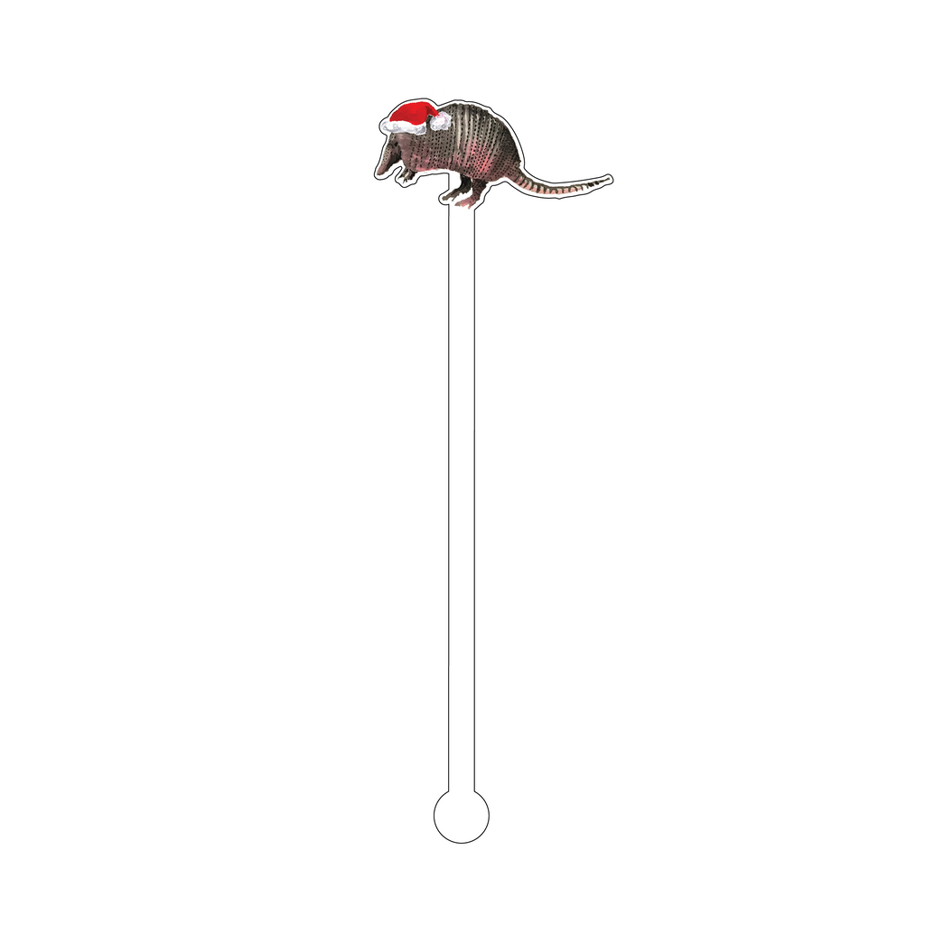 CHRISTMAS ARMADILLO ACRYLIC STIR STICK