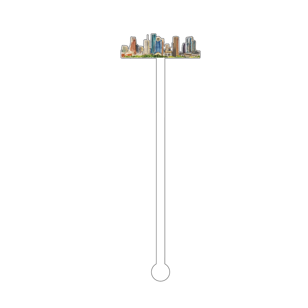 HOUSTON SKYLINE ACRYLIC STIR STICK