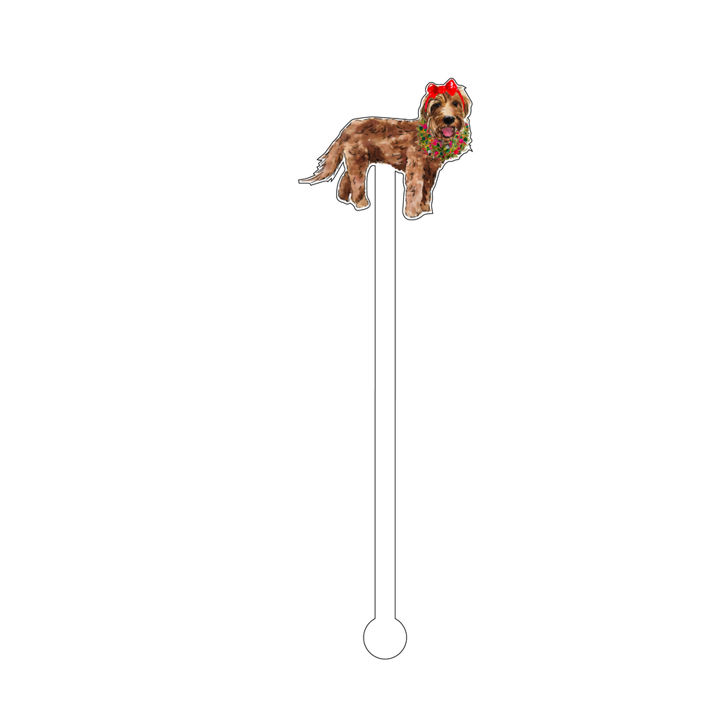 CHRISTMAS MINI GOLDENDOODLE ACRYLIC STIR STICK