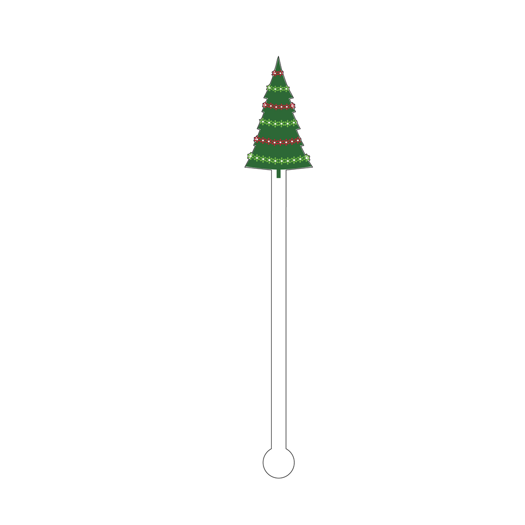 IT'S A VERY MERRY HOLIDAY TREE ACRYLIC STIR STICK