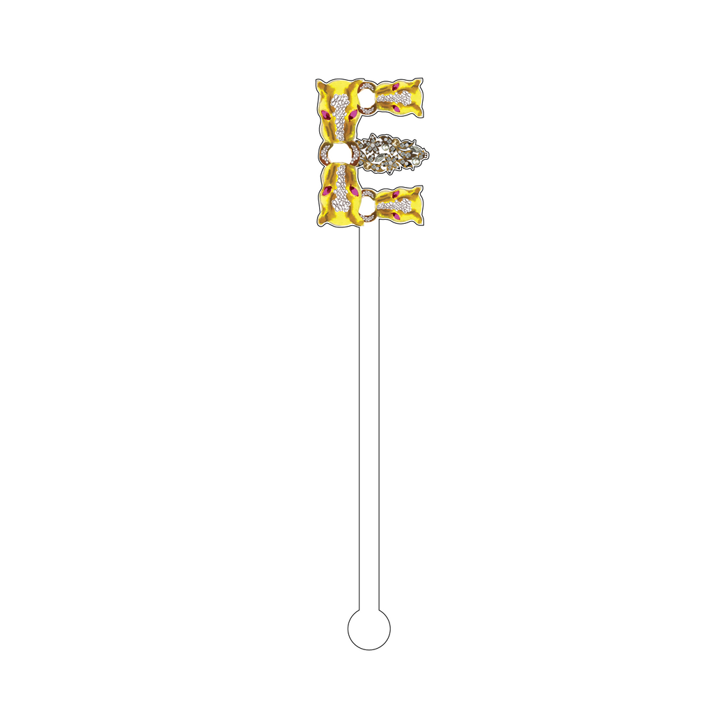 'E' FLAME JEWELED MONOGRAM ACRYLIC STIR STICK