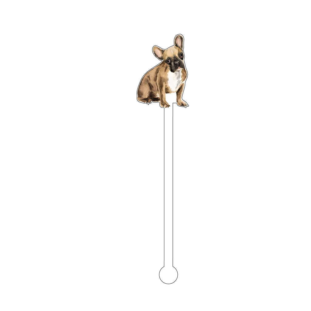 BEIGE FRENCHIE ACRYLIC STIR STICK