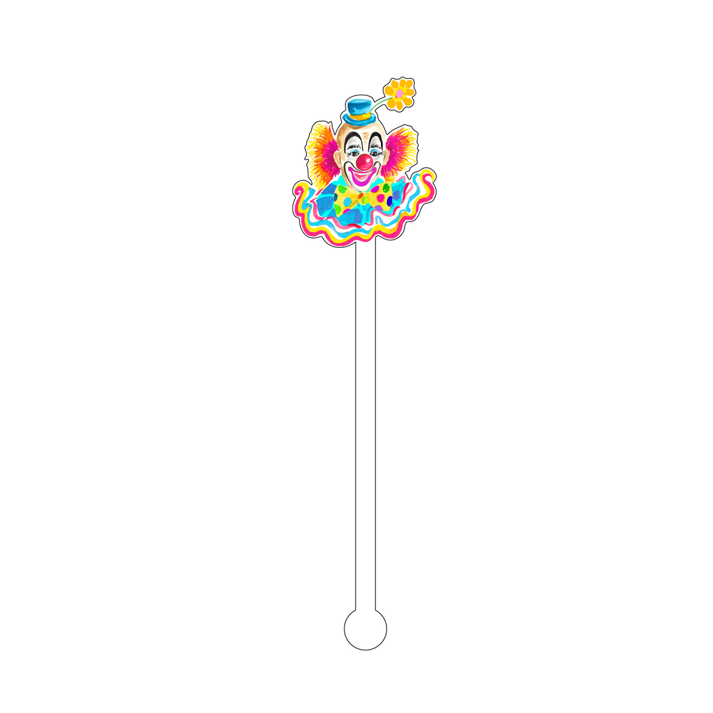 RAINBOW HAPPY CLOWN ACRYLIC STIR STICK