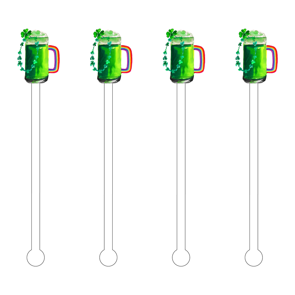 RAINBOW GREEN BEER ACRYLIC STIR STICKS