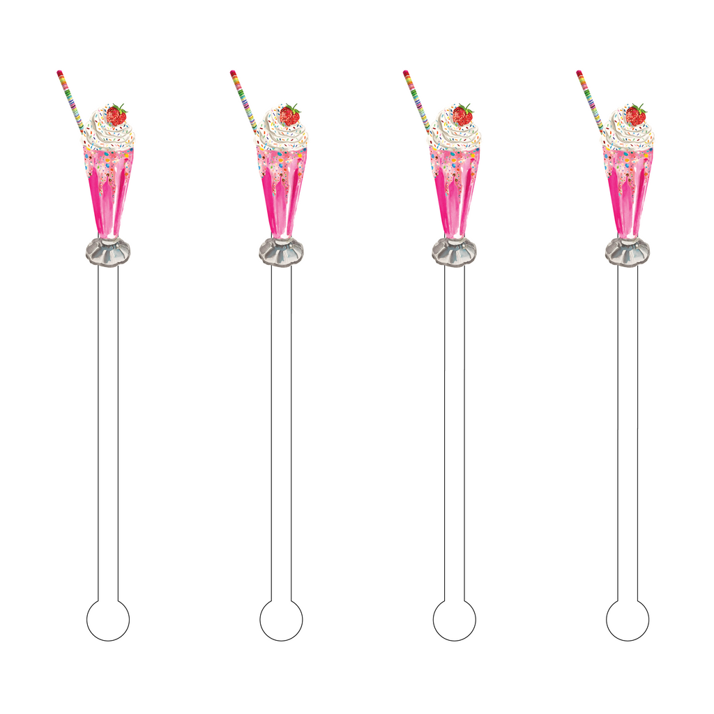 STRAWBERRY SHAKE ACRYLIC STIR STICKS