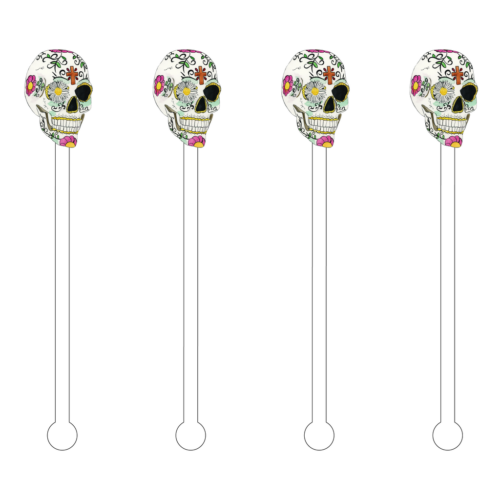 DAISY EYE SUGAR SKULL ACRYLIC STIR STICKS
