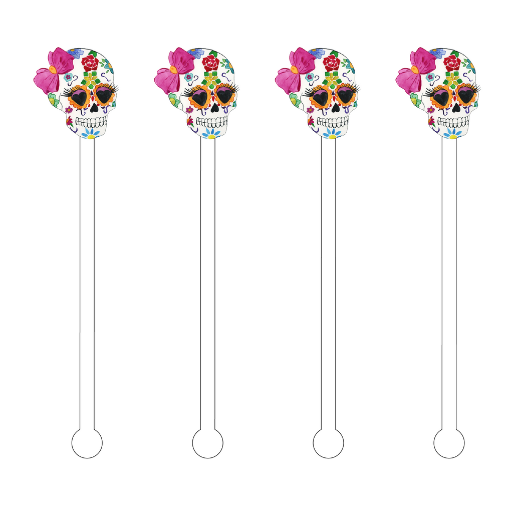 FLOWER CHILD SUGAR SKULL ACRYLIC STIR STICKS