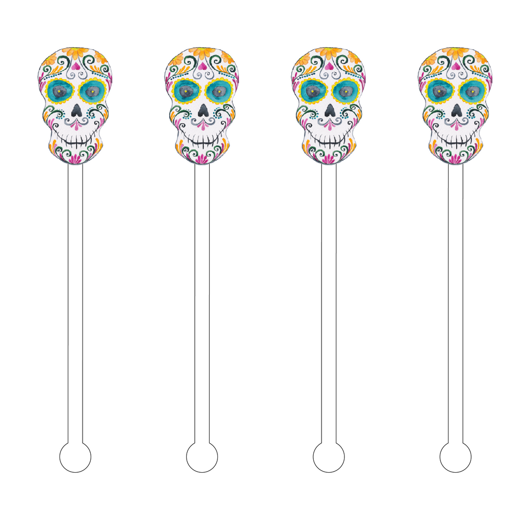 AQUA EYES SUGAR SKULL ACRYLIC STIR STICKS