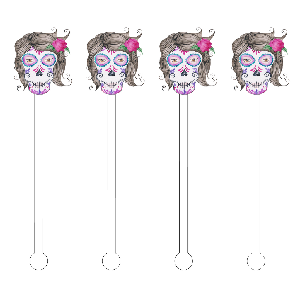 GRANDMA SUGAR SKULL ACRYLIC STIR STICKS