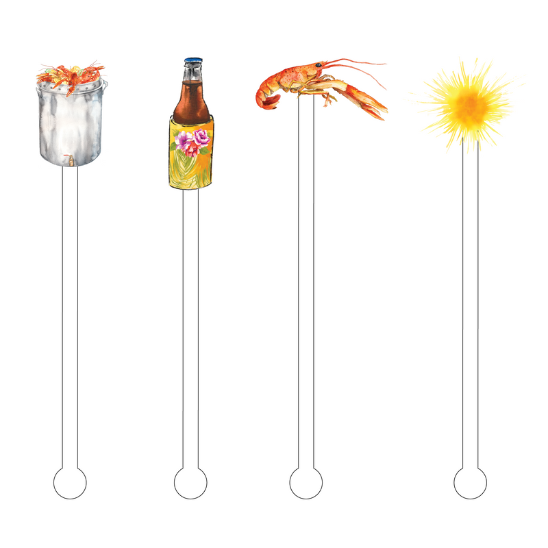 SUMMER CRAWFISH BOIL ACRYLIC STIR STICKS COMBO
