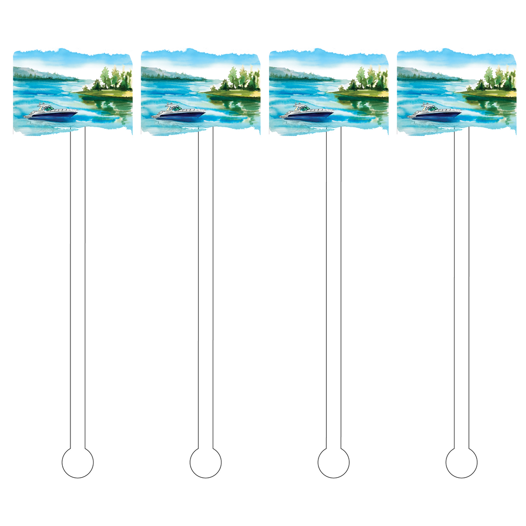 LAKE SCENE ACRYLIC STIR STICKS