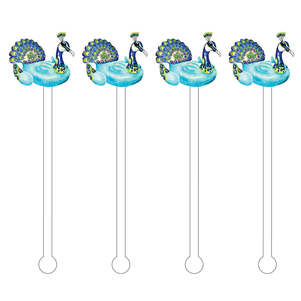 PEACOCK FLOATY ACRYLIC STIR STICKS