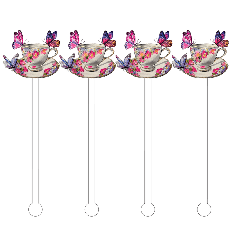 BUTTERFLIES TEACUP ACRYLIC STIR STICKS