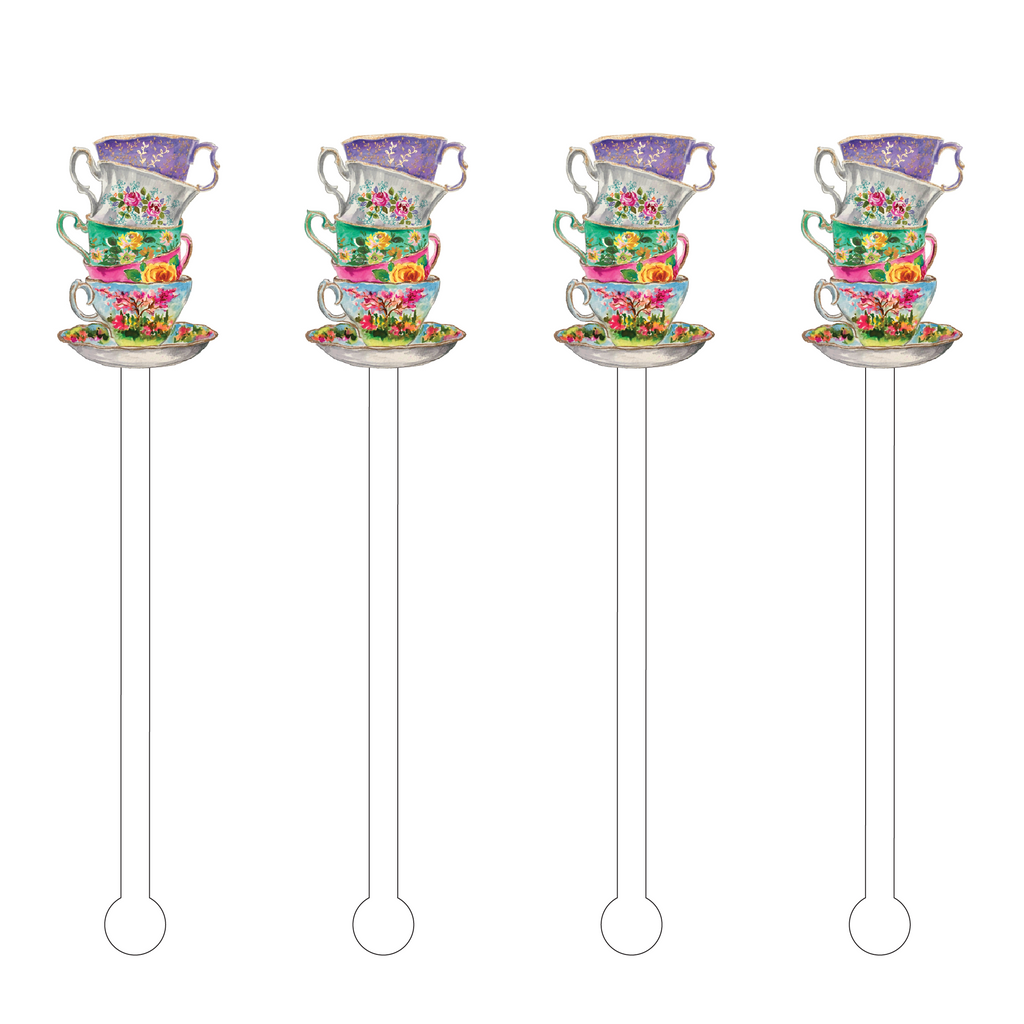STACKED TEACUPS ACRYLIC STIR STICKS
