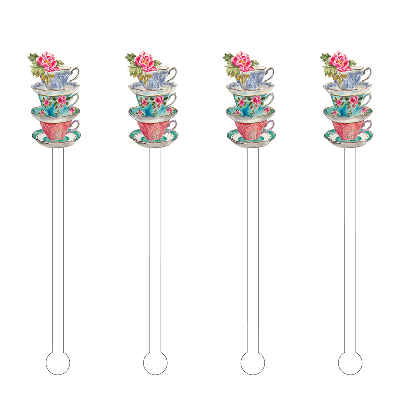 STACKED TEACUPS WITH FLOWER ACRYLIC STIR STICKS