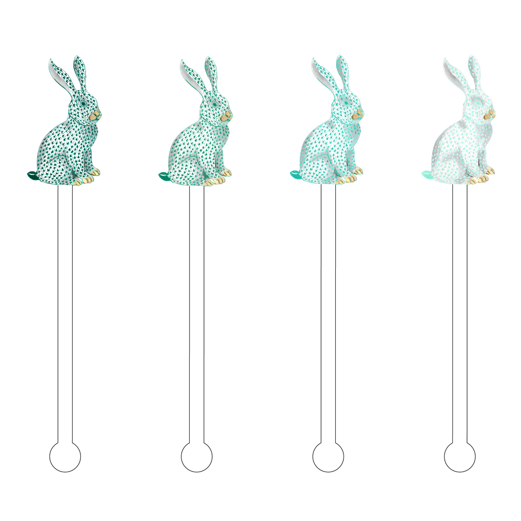 TEAL OMBRE HEREND BUNNY ACRYLIC STIR STICKS COMBO*