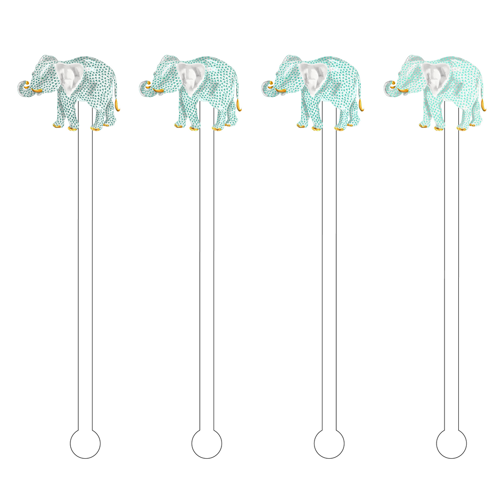 SEA MIST OMBRE HEREND ELEPHANT ACRYLIC STIR STICKS COMBO*