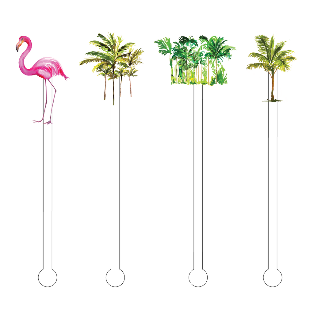 FLAMINGLING IN THE TROPICS ACRYLIC STIR STICKS COMBO