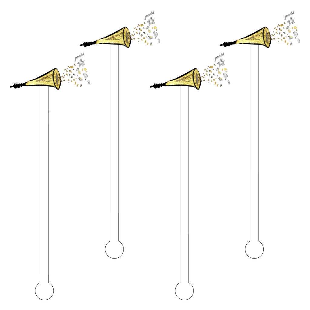 GOLD CONFETTI HORN ACRYLIC STIR STICKS