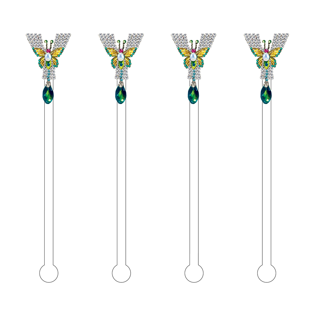 'Y' JEWELED MONOGRAM ACRYLIC STIR STICKS
