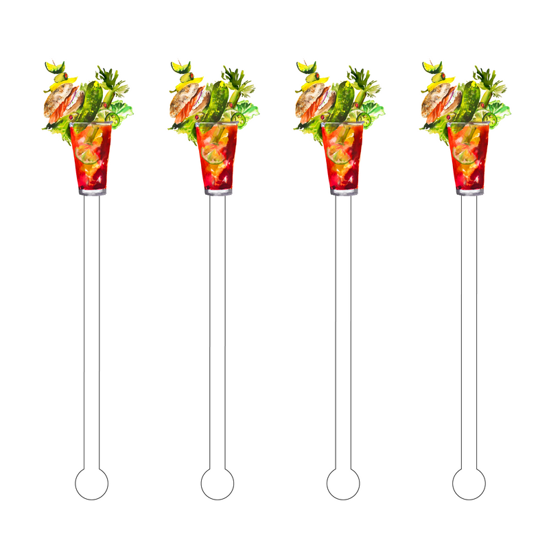 PICKLE LOX BAGEL BLOODY MARY ACRYLIC STIR STICKS
