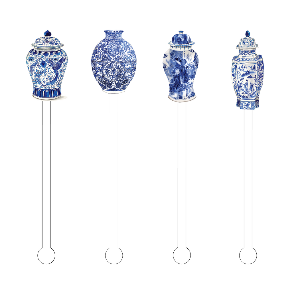 BLUE & WHITE GINGER JARS ACRYLIC STIR STICKS COMBO