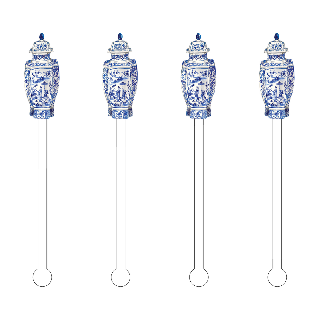BLUE & WHITE GEISHA SCENE GINGER JAR ACYLIC STIR STICKS