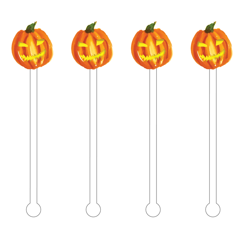 CREEPY JACK O' LANTERN ACRYLIC STIR STICKS