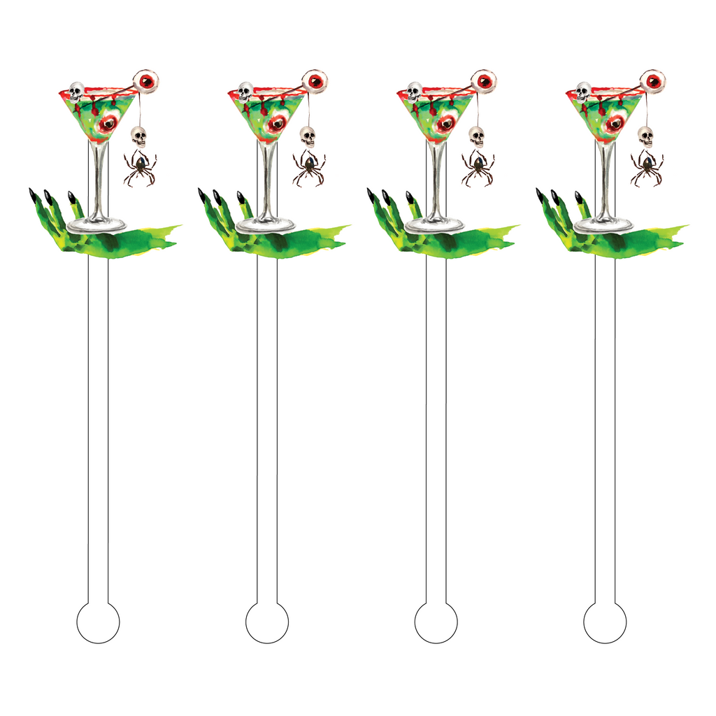 WITCH'S HAND EYEBALL COCKTAIL ACRYLIC STIR STICKS