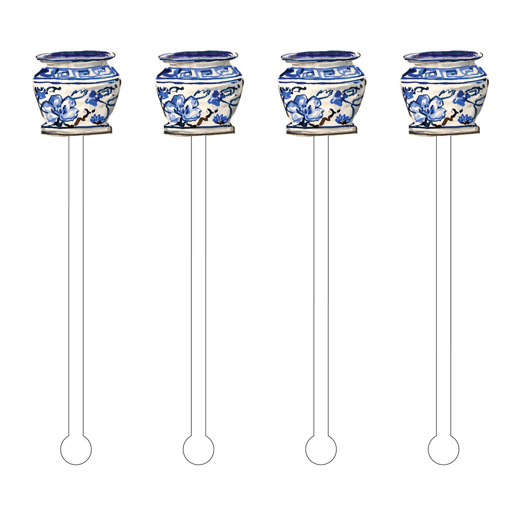 SHELBY BLUE & WHITE POT ACRYLIC STIR STICKS
